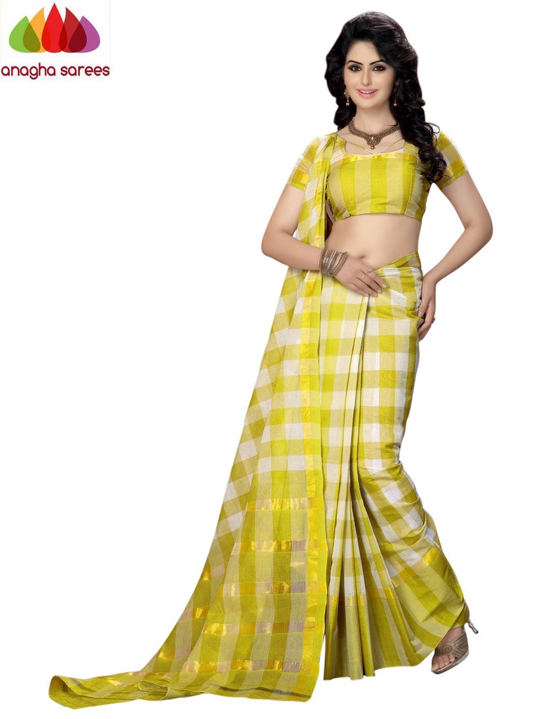 Designer Pure Cotton Saree - Lemon Yellow  ANA_933 - Anagha Sarees