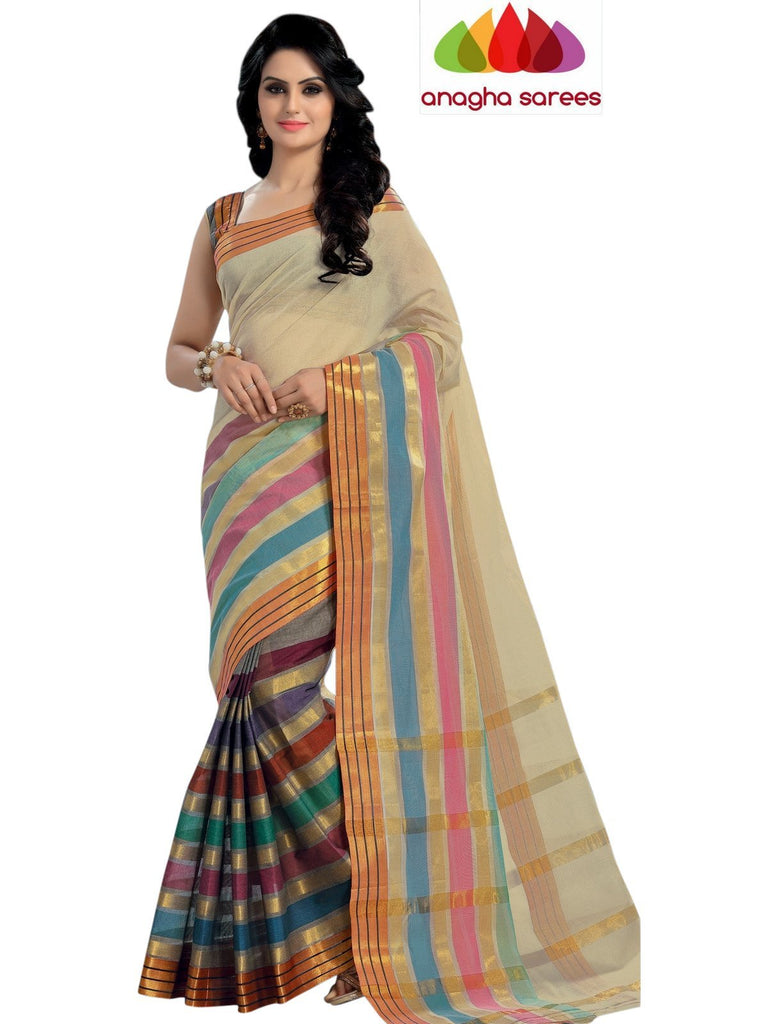 Designer Pure Cotton Saree - Light Beige/Multicolor  ANA_444 - Anagha Sarees