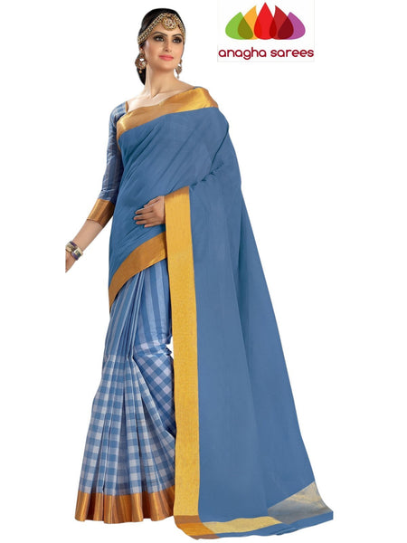 Designer Pure Cotton Saree - Light Blue ANA_456 - Anagha Sarees