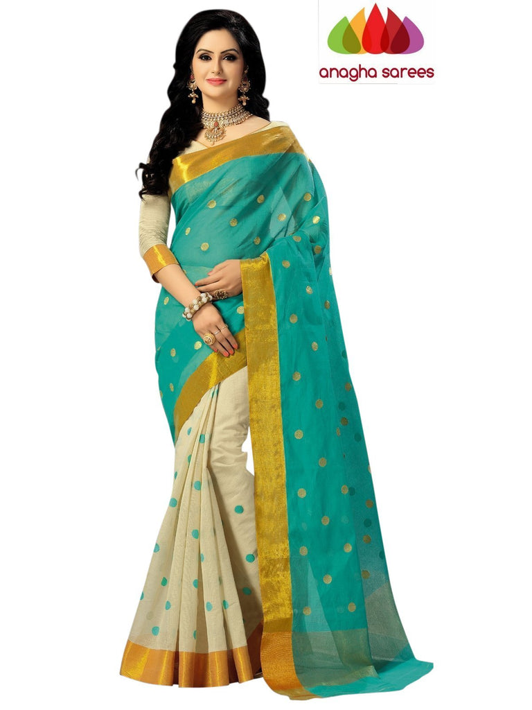 Designer Pure Cotton Saree - Light Green ANA_619 Anagha Sarees