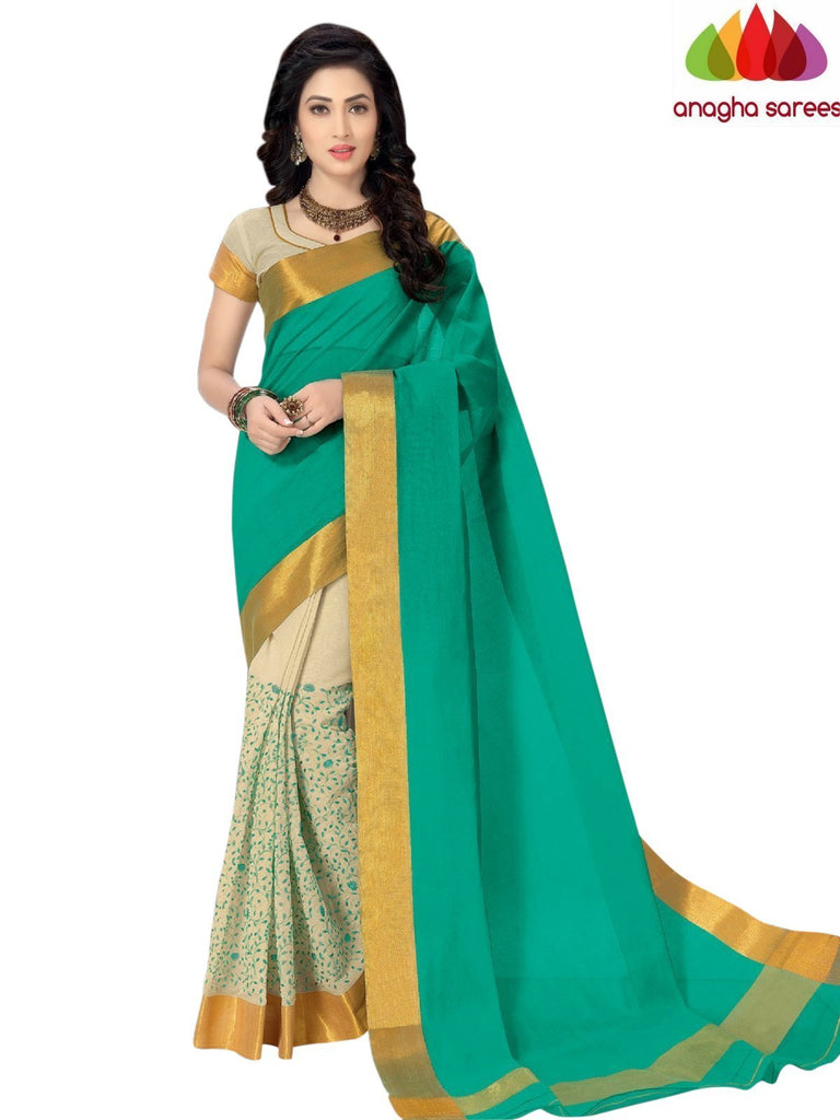 Designer Pure Cotton Saree - Light Green ANA_939 Anagha Sarees