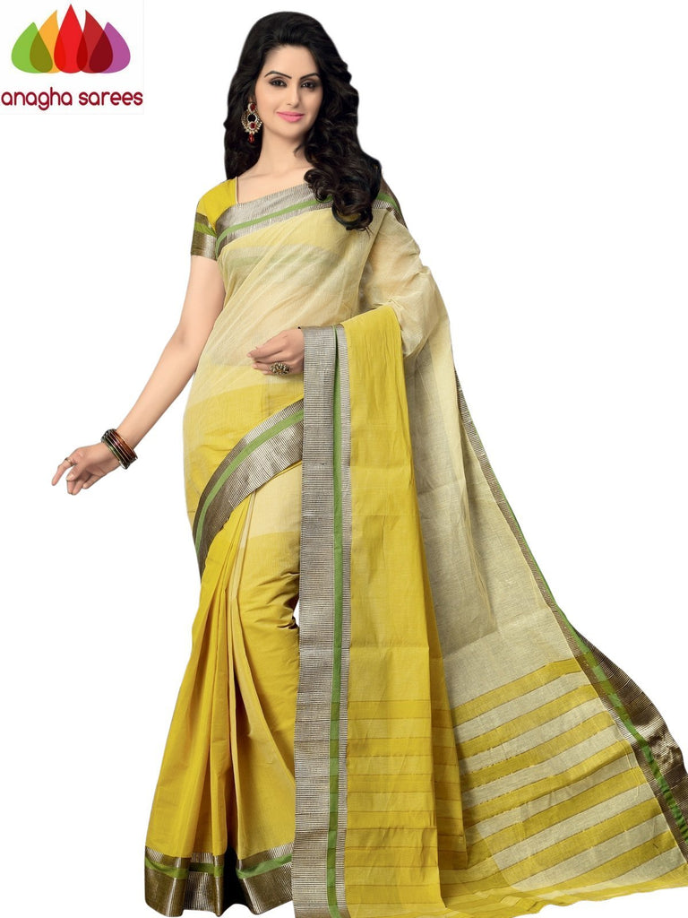 Designer Pure Cotton Saree - Lime Green ANA_991 Anagha Sarees