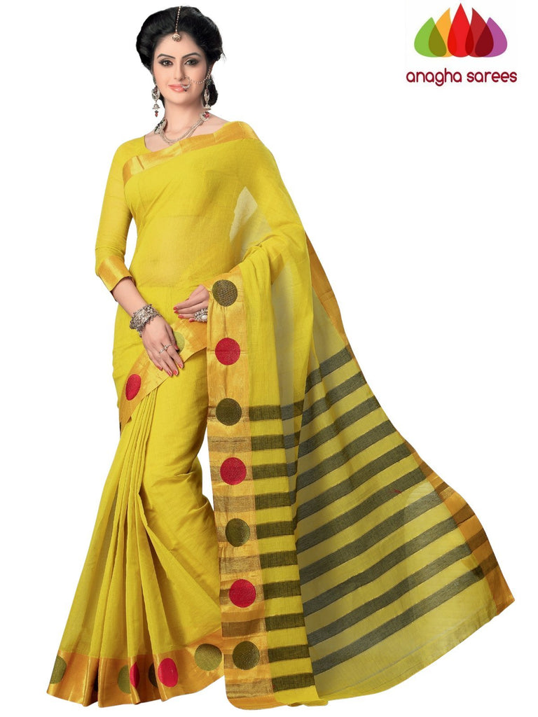 Designer Pure Cotton Saree - Lime Green ANA_992 - Anagha Sarees