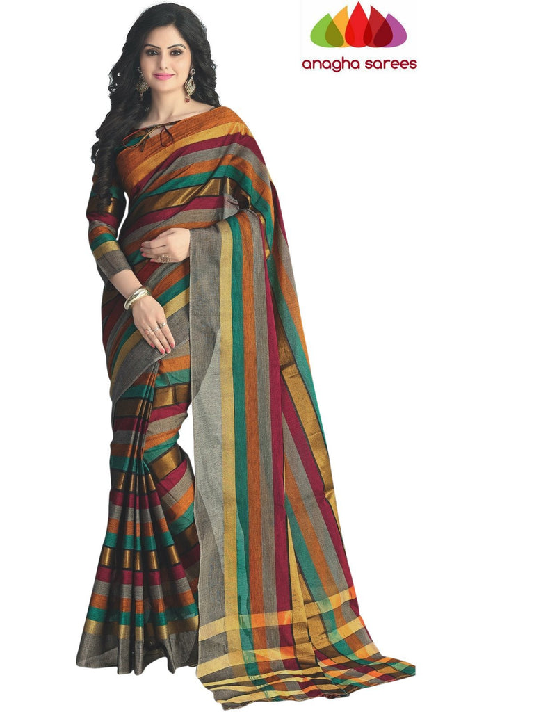 Designer Pure Cotton Saree - Multicolor ANA_418 Anagha Sarees