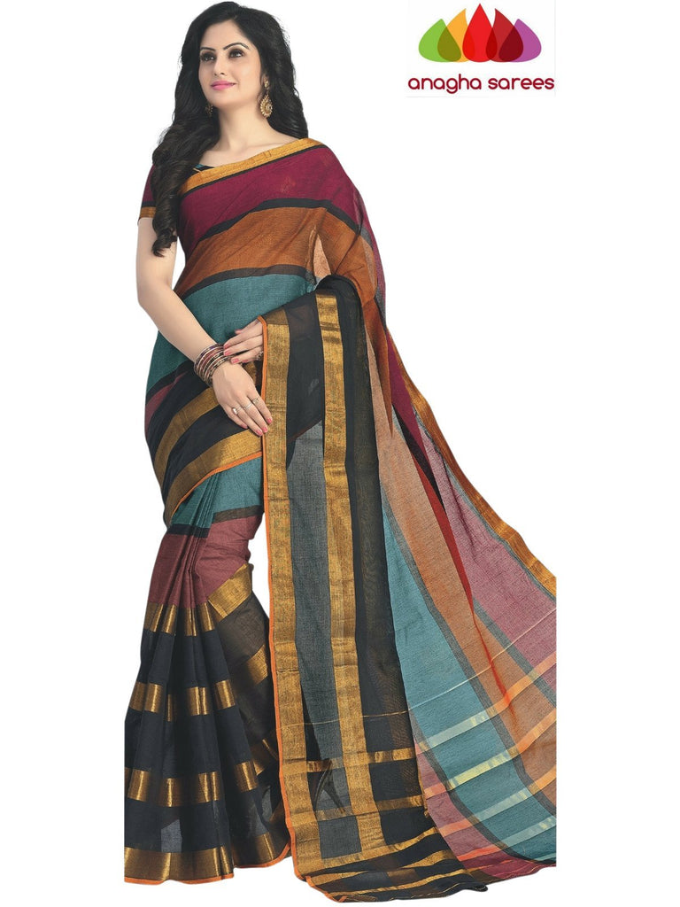 Designer Pure Cotton Saree - Multicolor ANA_419 Anagha Sarees