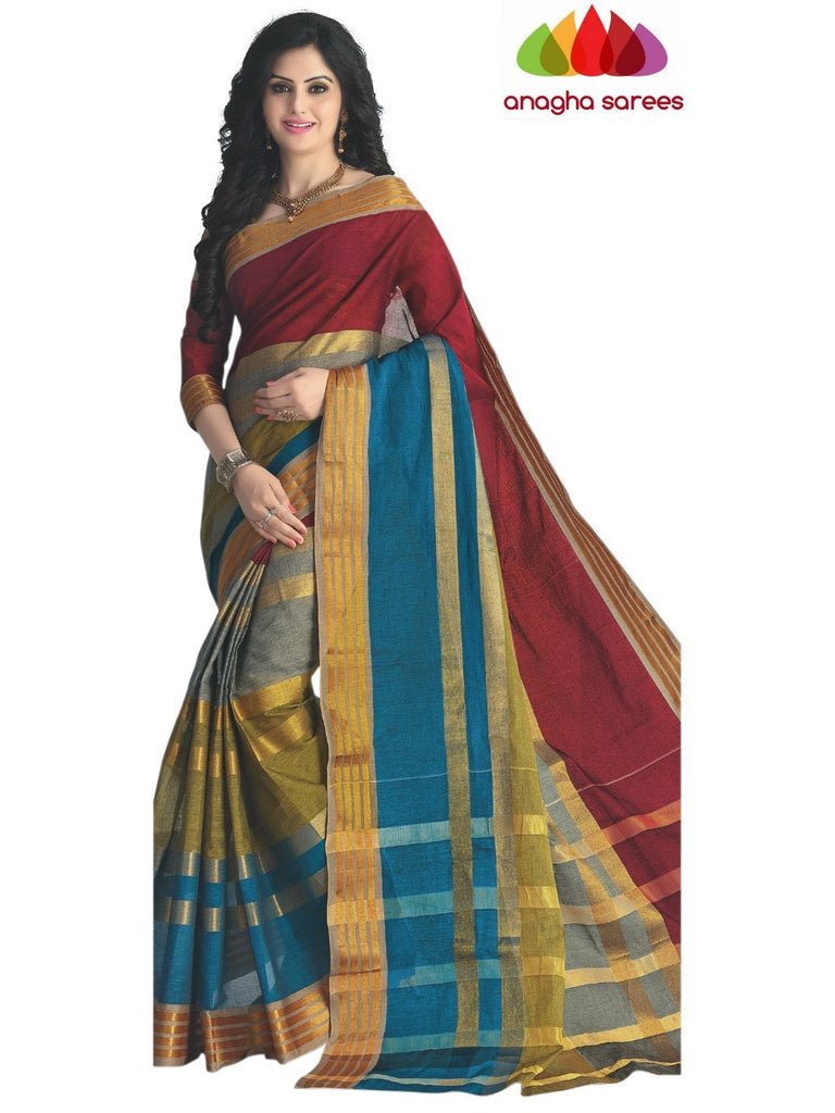 Designer Pure Cotton Saree - Multicolor ANA_420 - Anagha Sarees