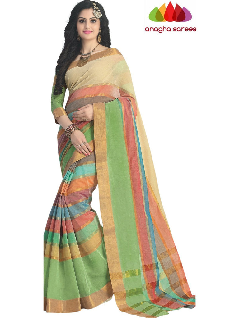 Designer Pure Cotton Saree - Multicolor ANA_425 Anagha Sarees