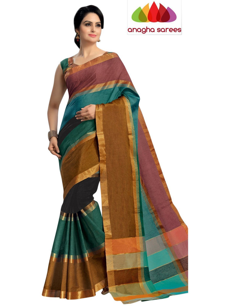 Designer Pure Cotton Saree - Multicolor ANA_449 Anagha Sarees