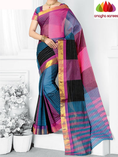 Designer Pure Cotton Saree - Multicolor ANA_950 - Anagha Sarees