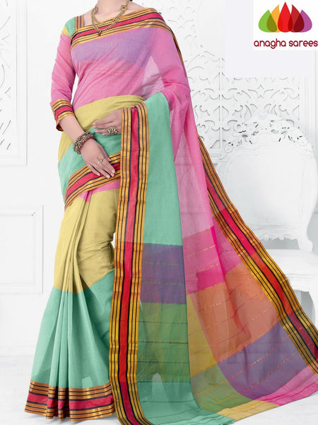 Designer Pure Cotton Saree - Multicolor ANA_951 - Anagha Sarees