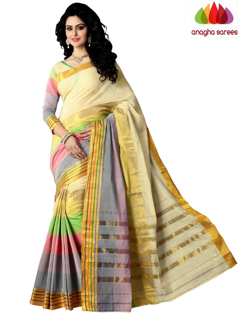Designer Pure Cotton Saree - Multicolor ANA_994 Anagha Sarees
