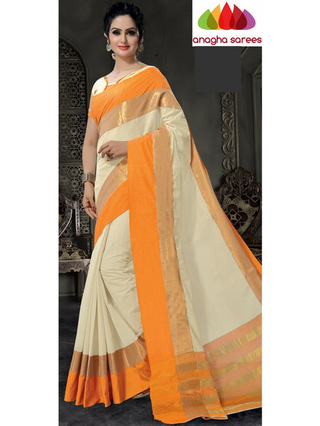 Designer Pure Cotton Saree - Off-White ANA_780 - Anagha Sarees