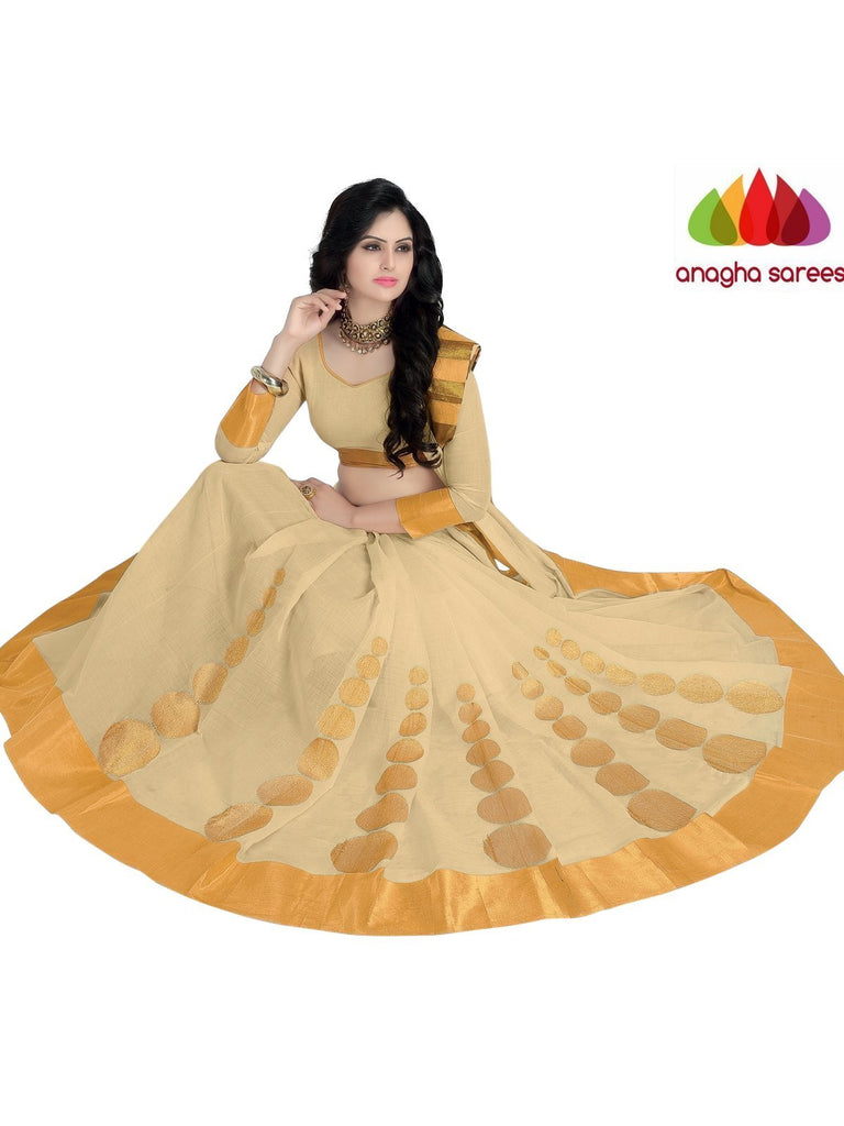 Designer Pure Cotton Saree - Off White  ANA_926 Anagha Sarees