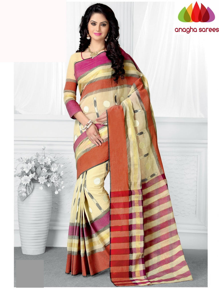Designer Pure Cotton Saree - Off White ANA_955 Anagha Sarees