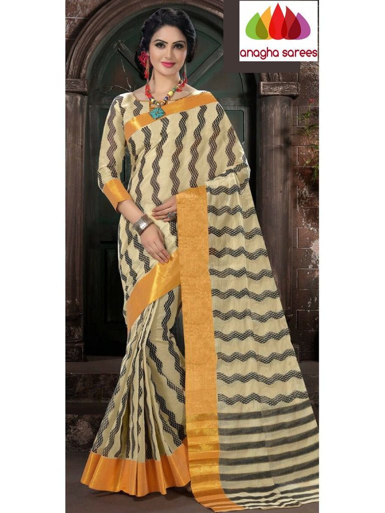 Designer Pure Cotton Saree - Off White  ANA_974 Anagha Sarees