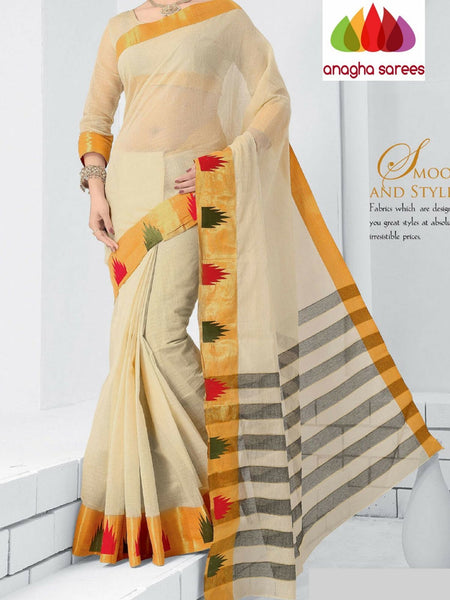 Designer Pure Cotton Saree - Off White ANA_993 - Anagha Sarees