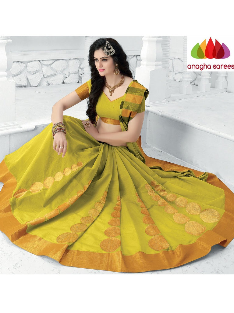 Designer Pure Cotton Saree - Olive Green  ANA_927 Anagha Sarees