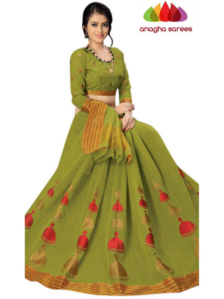 Designer Pure Cotton Saree - Olive Green  ANA_C89 Anagha Sarees