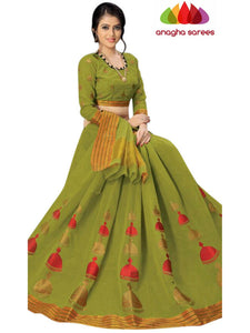 Designer Pure Cotton Saree - Olive Green  ANA_C89
