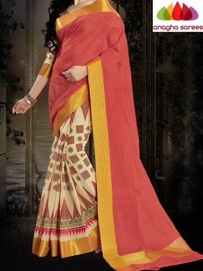 Designer Pure Cotton Saree - Peach ANA_413 - Anagha Sarees
