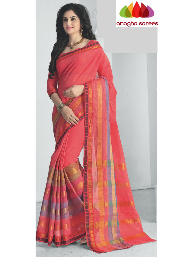 Designer Pure Cotton Saree - Peach ANA_424 Anagha Sarees