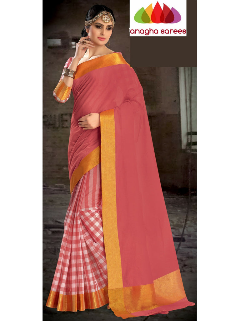 Designer Pure Cotton Saree - Peach ANA_458 Anagha Sarees