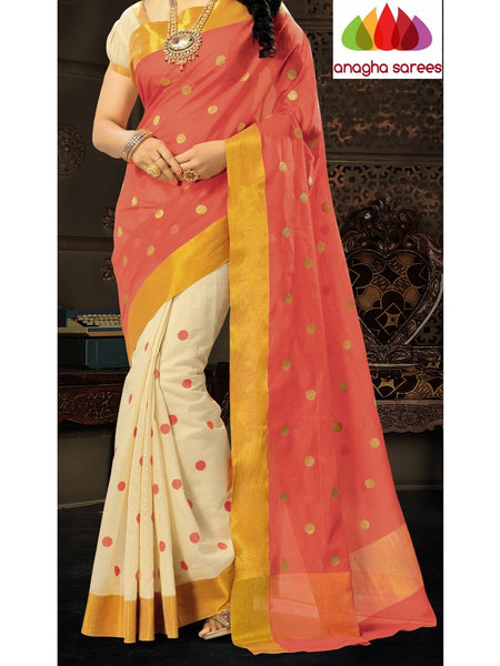 Designer Pure Cotton Saree - Peach ANA_621 - Anagha Sarees