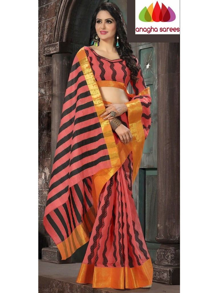Designer Pure Cotton Saree - Peach  ANA_976 Anagha Sarees