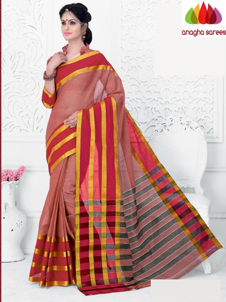 Designer Pure Cotton Saree - Peach : ANA_A53 Anagha Sarees