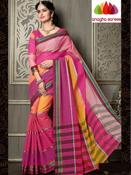 Designer Pure Cotton Saree - Pink/Multicolor ANA_995 - Anagha Sarees
