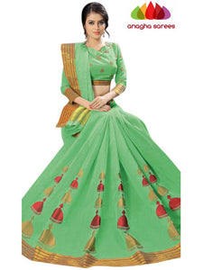 Designer Pure Cotton Saree -  Pista Green  ANA_C83