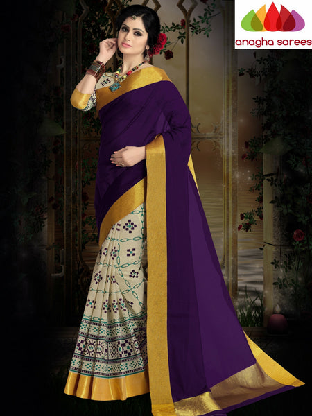 Designer Pure Cotton Saree - Purple ANA_409 - Anagha Sarees