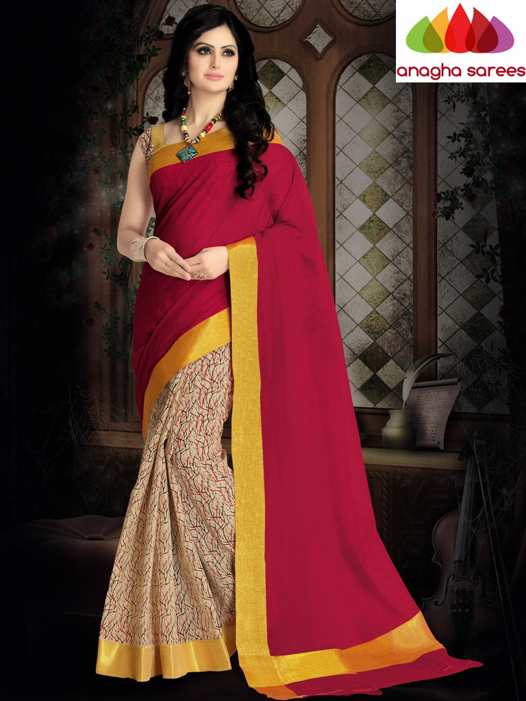 Designer Pure Cotton Saree - Red ANA_410 Anagha Sarees