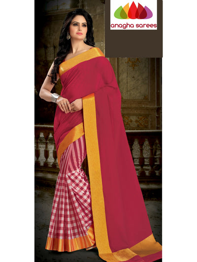 Designer Pure Cotton Saree - Red ANA_460 - Anagha Sarees