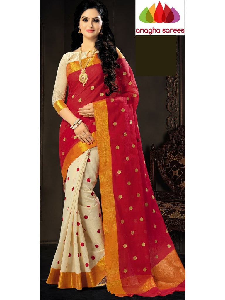 Designer Pure Cotton Saree - Red ANA_623 - Anagha Sarees