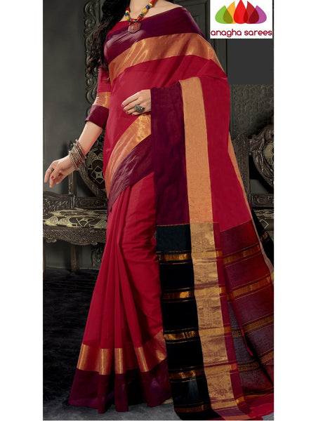 Designer Pure Cotton Saree - Red ANA_781 - Anagha Sarees