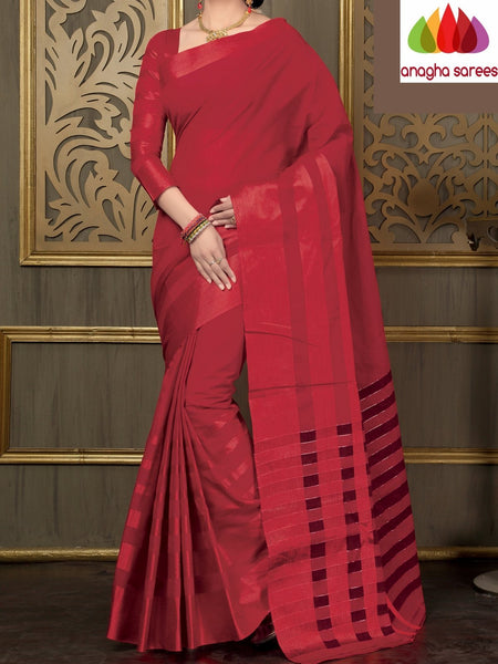 Designer Pure Cotton Saree - Red : ANA_A46 - Anagha Sarees