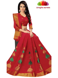 Designer Pure Cotton Saree -  Red  ANA_C81
