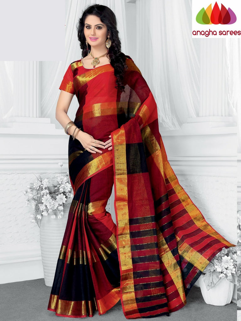 Designer Pure Cotton Saree - Red-Black  ANA_956 Anagha Sarees