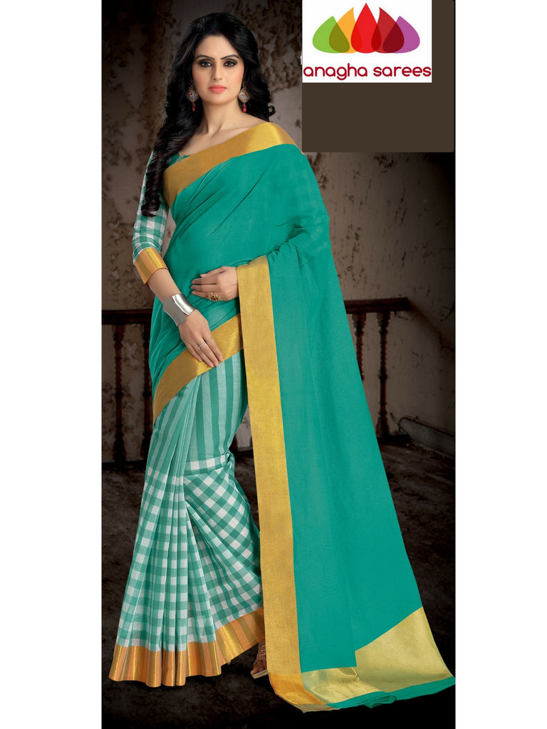Designer Pure Cotton Saree - Sea Green ANA_461 Anagha Sarees