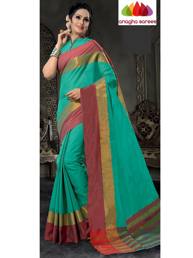 Designer Pure Cotton Saree - Sea Green ANA_782 Anagha Sarees