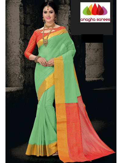 Designer Pure Cotton Saree - Sea Green ANA_803 - Anagha Sarees