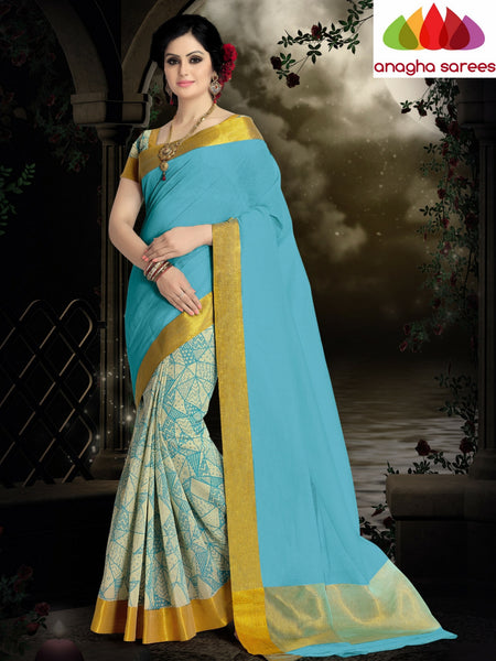Designer Pure Cotton Saree - Sky Blue ANA_416 - Anagha Sarees