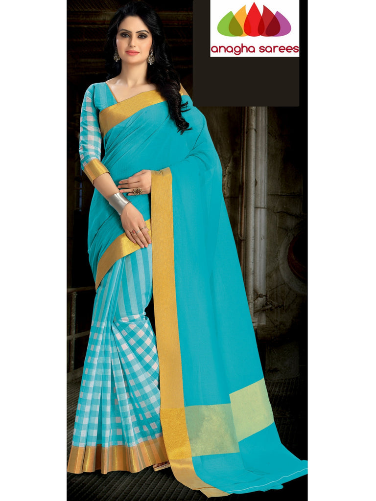 Designer Pure Cotton Saree - Sky Blue ANA_462 Anagha Sarees