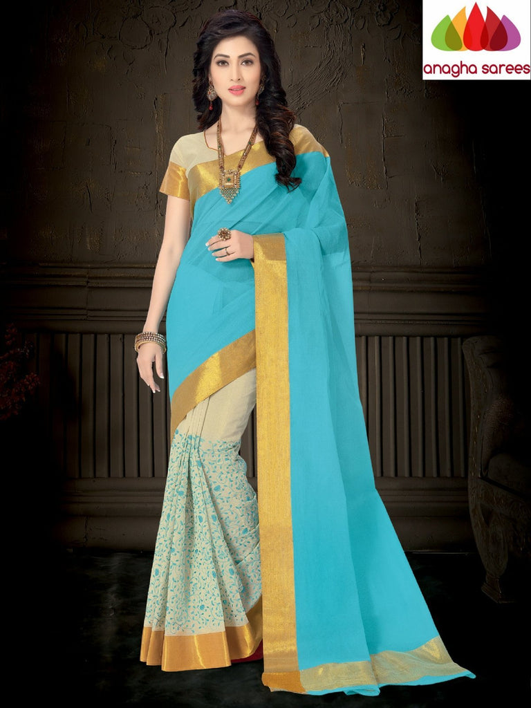 Designer Pure Cotton Saree - Sky Blue ANA_943 Anagha Sarees