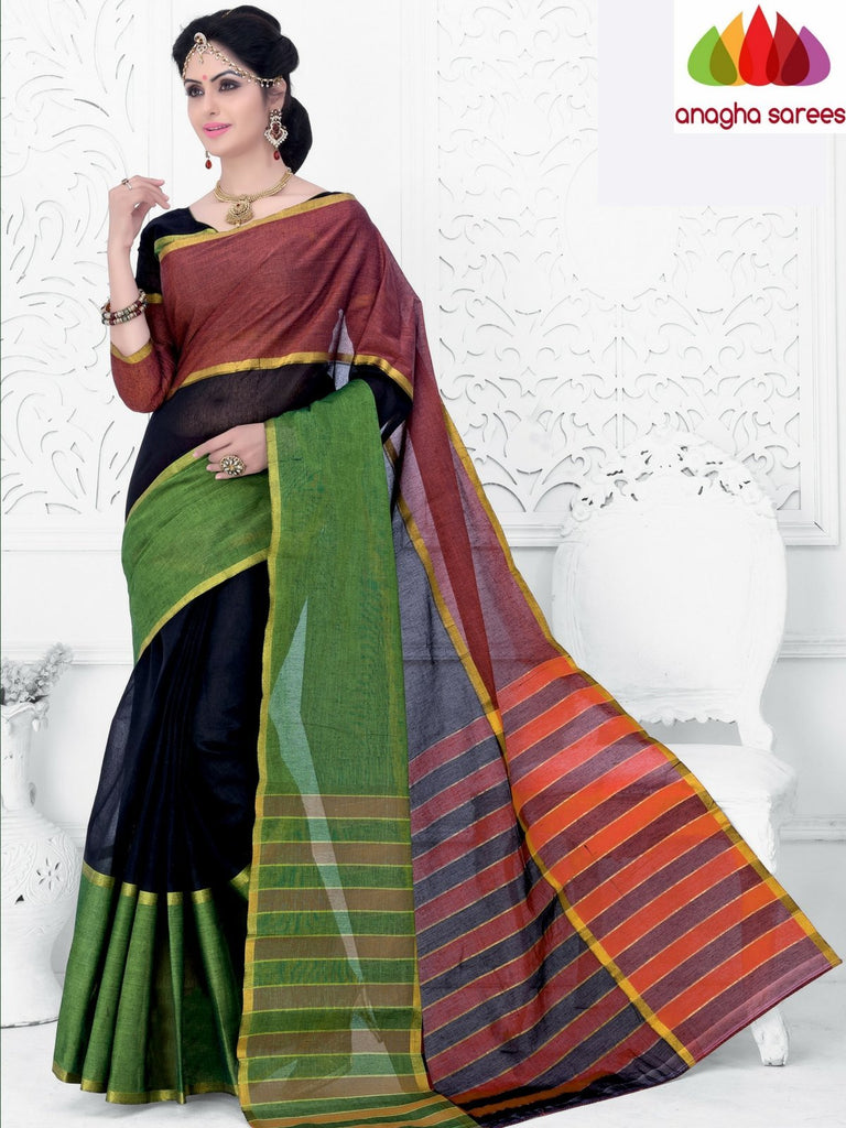 Designer Pure Cotton Saree - Tricolor ANA_952 Anagha Sarees