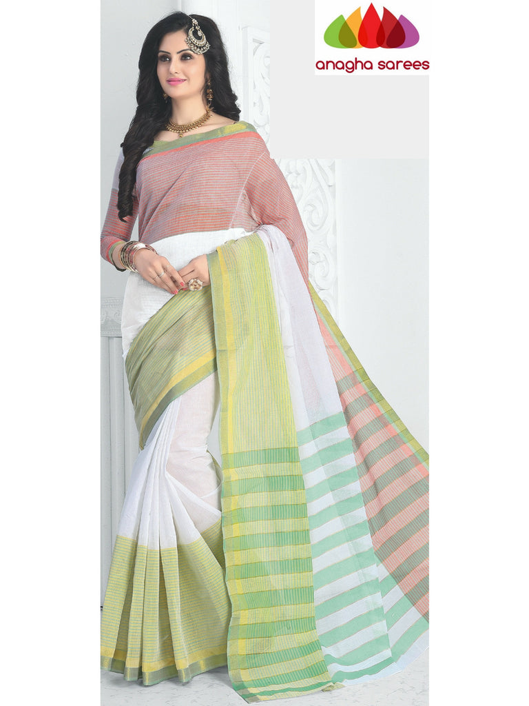 Designer Pure Cotton Saree - White/Multicolor ANA_427 - Anagha Sarees