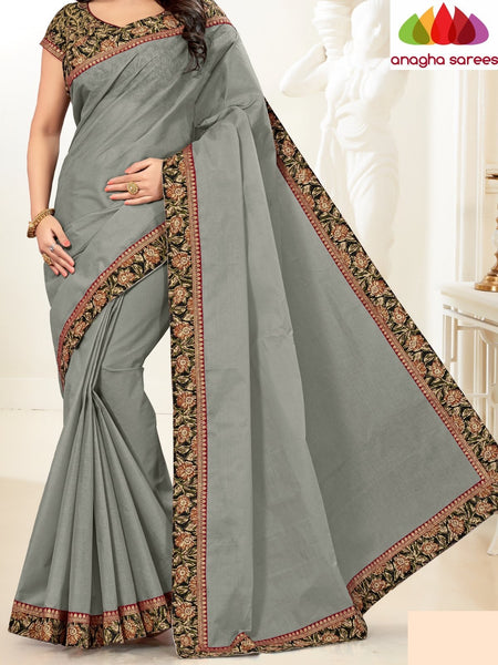 Anagha Sarees Pure Cotton Fancy Cotton Saree - Grey : ANA_G96
