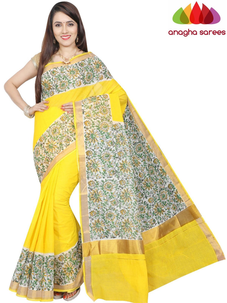 Hand Block Printed Pure Cotton Saree - Yellow : ANA_G06