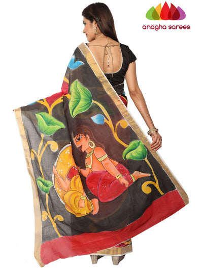 Hand Painted Rich Cotton Saree -  Multicolor : ANA_E96 - Anagha Sarees